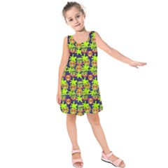 Smiley Background Smiley Grunge Kids  Sleeveless Dress
