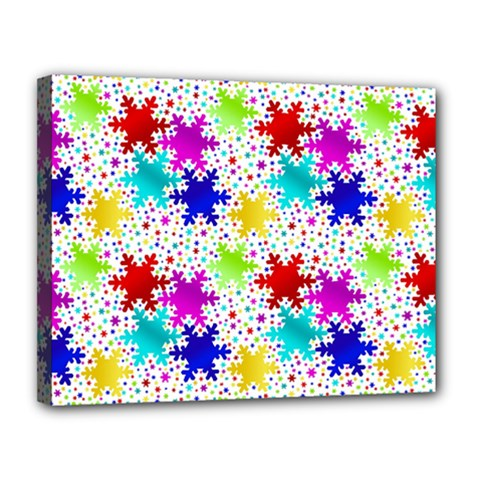 Snowflake Pattern Repeated Canvas 14  x 11