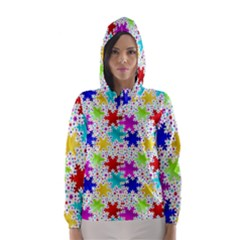 Snowflake Pattern Repeated Hooded Wind Breaker (Women)