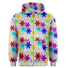 Snowflake Pattern Repeated Men s Zipper Hoodie