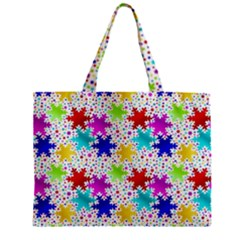 Snowflake Pattern Repeated Zipper Mini Tote Bag