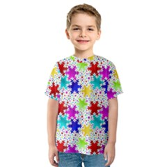 Snowflake Pattern Repeated Kids  Sport Mesh Tee