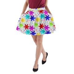 Snowflake Pattern Repeated A Line Pocket Skirt