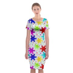 Snowflake Pattern Repeated Classic Short Sleeve Midi Dress
