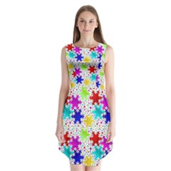 Snowflake Pattern Repeated Sleeveless Chiffon Dress