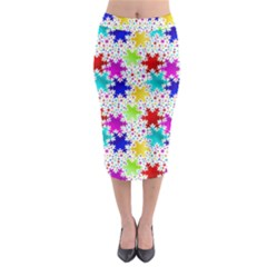Snowflake Pattern Repeated Midi Pencil Skirt