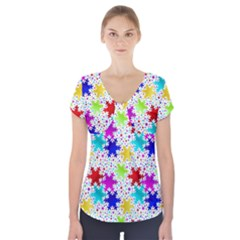 Snowflake Pattern Repeated Short Sleeve Front Detail Top
