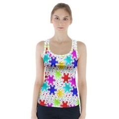 Snowflake Pattern Repeated Racer Back Sports Top
