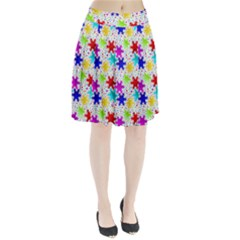 Snowflake Pattern Repeated Pleated Skirt