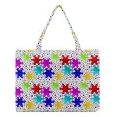 Snowflake Pattern Repeated Medium Tote Bag