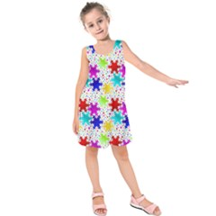 Snowflake Pattern Repeated Kids  Sleeveless Dress
