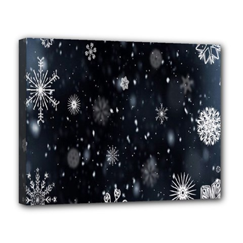 Snowflake Snow Snowing Winter Cold Canvas 14  x 11
