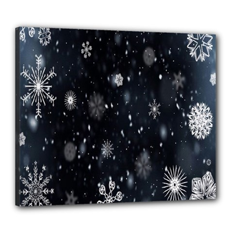 Snowflake Snow Snowing Winter Cold Canvas 24  x 20