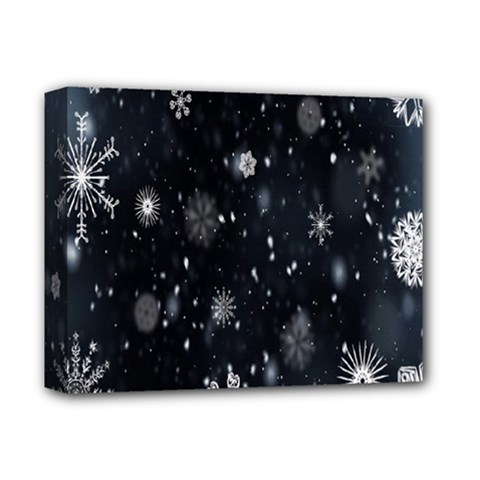 Snowflake Snow Snowing Winter Cold Deluxe Canvas 14  x 11