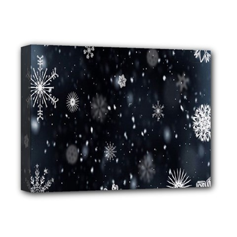Snowflake Snow Snowing Winter Cold Deluxe Canvas 16  X 12