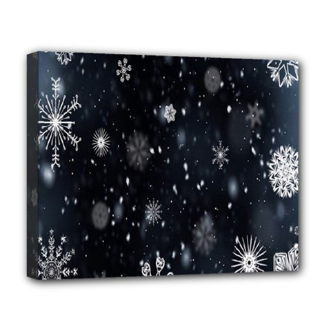 Snowflake Snow Snowing Winter Cold Deluxe Canvas 20  X 16