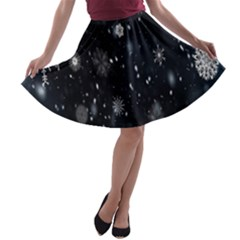 Snowflake Snow Snowing Winter Cold A-line Skater Skirt
