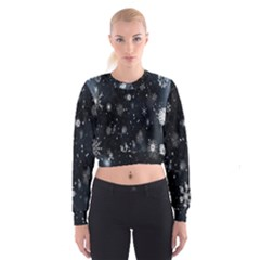 Snowflake Snow Snowing Winter Cold Women s Cropped Sweatshirt