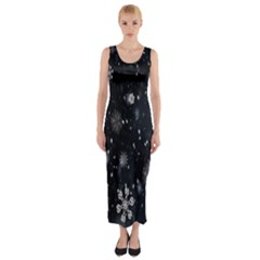 Snowflake Snow Snowing Winter Cold Fitted Maxi Dress