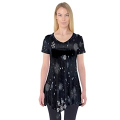 Snowflake Snow Snowing Winter Cold Short Sleeve Tunic