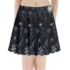 Snowflake Snow Snowing Winter Cold Pleated Mini Skirt