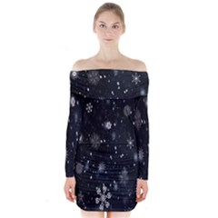 Snowflake Snow Snowing Winter Cold Long Sleeve Off Shoulder Dress