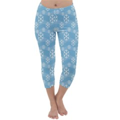 Snowflakes Winter Christmas Capri Winter Leggings