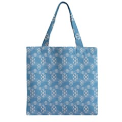 Snowflakes Winter Christmas Zipper Grocery Tote Bag