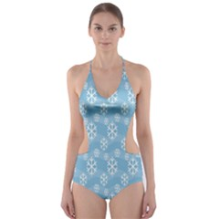 Snowflakes Winter Christmas Cut-Out One Piece Swimsuit
