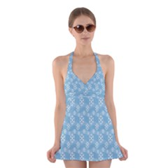 Snowflakes Winter Christmas Halter Swimsuit Dress