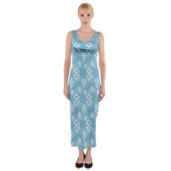 Snowflakes Winter Christmas Fitted Maxi Dress