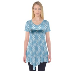 Snowflakes Winter Christmas Short Sleeve Tunic