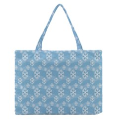 Snowflakes Winter Christmas Medium Zipper Tote Bag