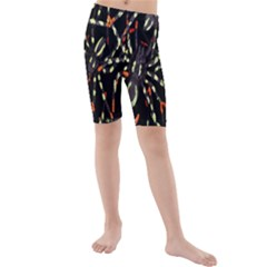 Spiders Colorful Kids  Mid Length Swim Shorts