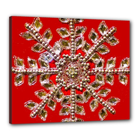 Snowflake Jeweled Canvas 24  x 20