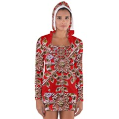 Snowflake Jeweled Women s Long Sleeve Hooded T-shirt