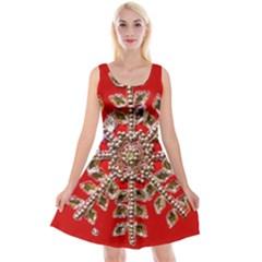 Snowflake Jeweled Reversible Velvet Sleeveless Dress