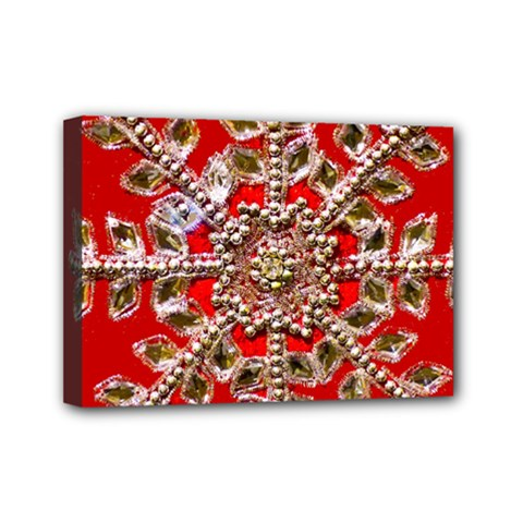 Snowflake Jeweled Mini Canvas 7  x 5