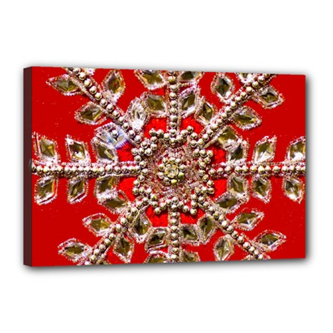 Snowflake Jeweled Canvas 18  x 12