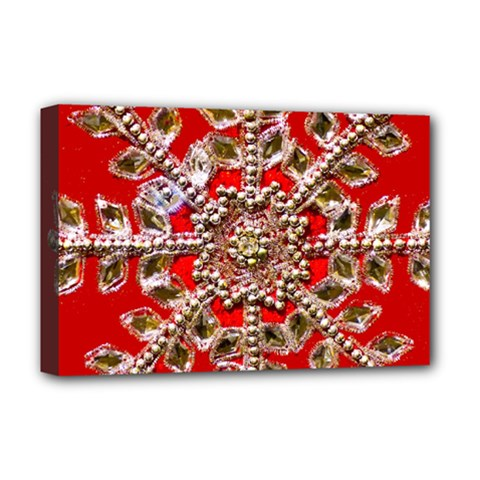 Snowflake Jeweled Deluxe Canvas 18  X 12