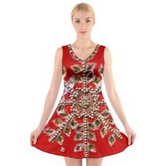 Snowflake Jeweled V-Neck Sleeveless Skater Dress