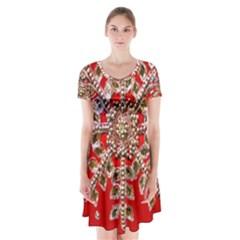 Snowflake Jeweled Short Sleeve V Neck Flare Dress