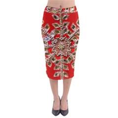 Snowflake Jeweled Midi Pencil Skirt