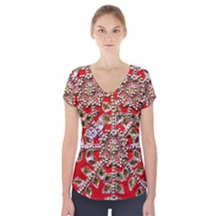 Snowflake Jeweled Short Sleeve Front Detail Top