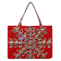 Snowflake Jeweled Medium Zipper Tote Bag