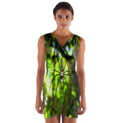 Spider Spiders Web Spider Web Wrap Front Bodycon Dress