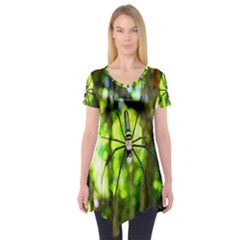 Spider Spiders Web Spider Web Short Sleeve Tunic