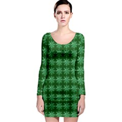 Snowflakes Square Long Sleeve Bodycon Dress
