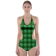 Snowflakes Square Cut Out One Piece Swimsuit
