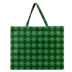 Snowflakes Square Zipper Large Tote Bag